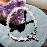 Rose Quartz Chip Bracelet with Silver Heart Toggle Clasp